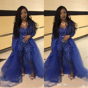 Wholesale plus size evening pant wear resale online - Sparkly Sequins Jumpsuits Prom Dresses Royal Blue V Neck Long Sleeve Overskirts Evening Gowns Plus Size African Pageant Pant Party Wear