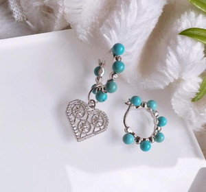 Wholesale luxury jewelry S925 sterling silver Crystal Diamond Valentine Earrings Turquoise Bead Earrings Long Earrings For Women