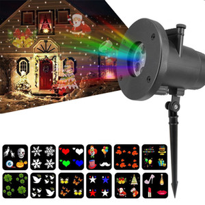 Newest Christmas Projector Laser Light 12 Replaceable Lens Colorful Patterns Night Light Wedding Fairy Garden Lawn Lamp Landscape