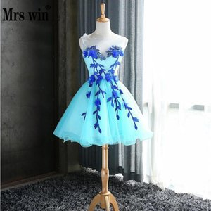 2018 New Arrival Mrs Win Sleeveless Prom Dresses O-neck Knee-length Ball Gown Candy Color Dress For on Sale