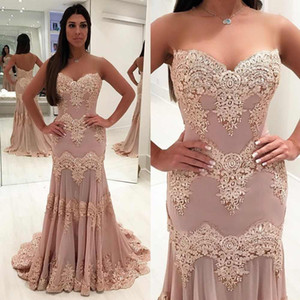 Wholesale Pink Lace Appliqued Mermaid Prom Dress 2019 Modest Strapless Formal Evening Pageant Gown Plus Size Pageant Dresses Custom Made