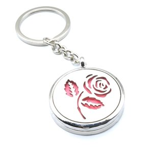 Wholesale Rose Flower Aromatherapy Essential Oil Diffuser Key Rings Perfume Locket Circle Keychain Magnetic Stainless Steel Jewelry