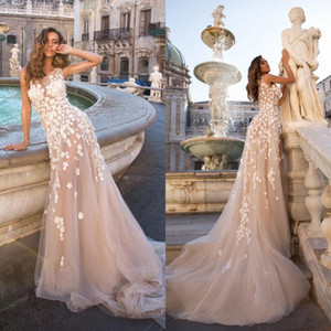 Wholesale 2020 D Floral Lace Champagne Mermaid Wedding Dresses Crew Neck Sheer See Through Backless Wedding Gowns Plus Size Brida Dress For Beach