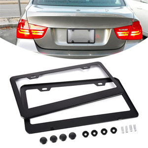 2PCS Pack Exquisite American Standard Aluminum Alloy 2-hole License Plate Holder License Plate Frame