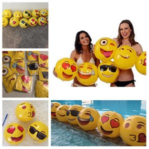 Wholesale 12 inch Emoji Face Beach Ball Inflatable toys Round for Water Play Pool PVC Toys Party supply Kids Gift Bath toy bech toys T2G5038