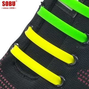 Wholesale 12pcs Running No Tie Shoelaces Fashion Unisex Women Men Athletic Elastic Silicone Shoe Lace All Sneakers Fit Strap V038