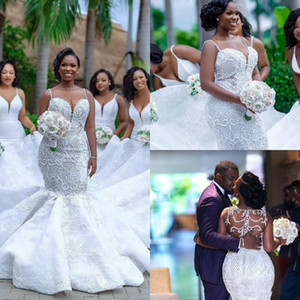 Wholesale African Plus Size Mermaid Wedding Dresses Spaghetti Lace Appliqued Pearls Beads Sheer Country Custom Made Beach Bridal Gowns