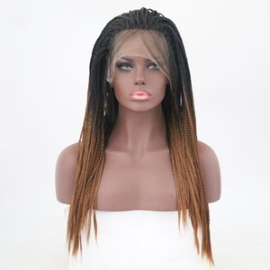 Wholesale 3x Box Braided Synthetic Wigs Ombre Brown Lace Front Wigs Straight Heat Resistant Fiber Hair Wig Cospaly Party Two Tone Black Root