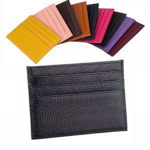100% Genuine Cow Leather ID Card Holder Candy Color Bank Credit Card Gift Box Multi Slot Slim Card Case Custom Name LOGO on Sale