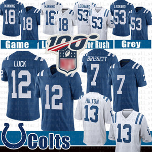 Wholesale 7 Jacoby Brissett Indianapolis Darius Leonard Colts Football Jersey T Y Hilton Andrew Luck Peyton Manning Jerseys Blue trh