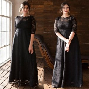 High Quality Plus Size Lace Evening Dresses Bateau Neck Half Sleeves Prom Gowns With Pocket A Line Floor Length Formal Dress on Sale