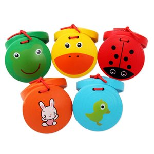 Wholesale wood castanets for sale - Group buy Children Percussion Wooden Cartoon Castanets Zoo Dance Board Musical toys for children