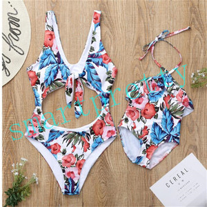 Wholesale gilrs clothing resale online - Summer Mom Gilrs Matching Swimwear Floral Flowers Print One Piece Women Swimsuit Backless Lace Up Y Kids Bikinis Beachwear Clothing LY411