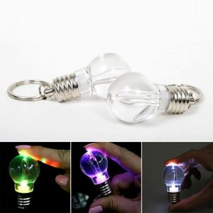Wholesale LED bulb keychain glowing flashlight keychain clear plastic bulb shaped key ring luminous mini spiral bulb key chain