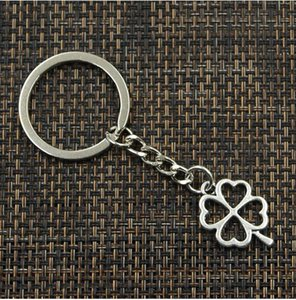 Wholesale 20pcs Key Ring Keychain Jewelry Silver Plated Hollow four Leaf Clover Charms pendant for Key accessories x17mm