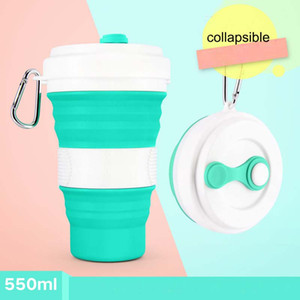 Wholesale 550ml Silicone Collapsible Cup Camping Collapsible Travel Cup Folding Portable Cups Drinking Outdoor Coffee Cups Drinkware