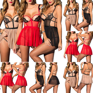 ingrosso stringhe aperte di lingerie-Hot sexy biancheria delle donne Backless Lace Babydoll Perizoma Open Cup Teddy spinge la biancheria intima See Through Sleepwear Thong biancheria da notte