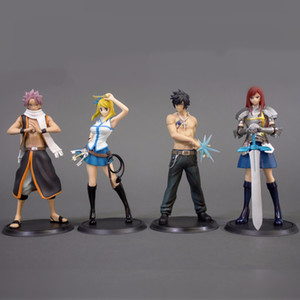 Wholesale 2pcs Fairy Tail Natsu Elza Erza Gray Sexy Girl Model Doll PVC cm Game Figurine Anime Action Figure