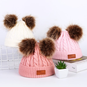 Wholesale New Winter Hat Boys Girls Knitted Beanies Thick Baby Cute Hair Ball Cap Infant Toddler Warm Cap Boy Girl Pom Poms Warm Hat