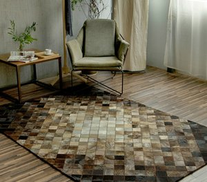 Wholesale cowhide rugs for sale - Group buy 2019 New Hand stitched Cowhide Rectangular Rug Living Room Bedroom Rug Large Geometric Sofa Custom Rug