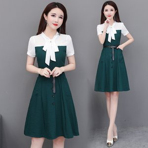 Wholesale Korean New Chiffon Bow Dress Plus Size Patchwork A line Dress Single Breasted Fashion Pocket Casual Loose Dresses