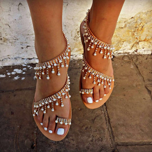 New Arrival Sexy Summer Gladiator Sandals Roman beaded Sandals Handmade Pearl Flat Woman Shoe Sandal Free Ship Beach Ladies Sandals Fashion
