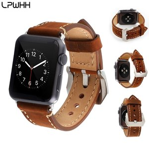Wholesale LPWHH Vintage Watchband Leather Strap For Watches Brown Black Genuine Leather For Apple Watch Band mm mm Soft For Iwatch