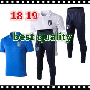18 19 Soccer Uniforms Shirt Italy INSIGNE ZAZA EL SHAARAWY PIRLO MARCHISIO Jerseys de fútbol Polo Jersey blue white men soccer training suit