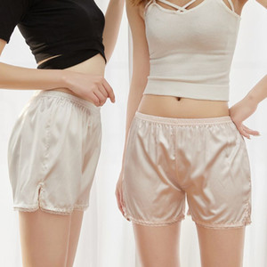Wholesale Women Scalloped Lace Trim Safety Shorts Imitation Silk Letters Striped Loose Slip Bloomer Pants Solid Color Side Slit Pettipants