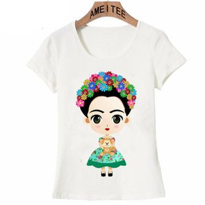Wholesale Fashion Charismatic Frida Kahlo Cute Cartoon Art T Shirt Summer Cute Women T Shirt New Design Tops Girl T Shirt Ladies Casual Tees