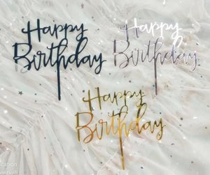Wholesale cake flags resale online - Cute Happy Birthday Rose Gold Cake Toppers Gold Glitter Acrylic Cupcake Flag Cake Decorations Party Gifts