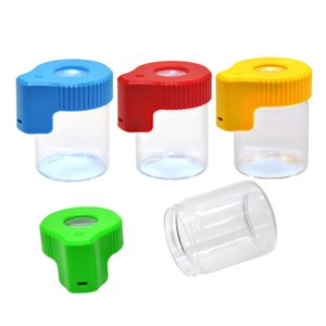 Wholesale Plastic Glass Light Up LED Air Tight Proof Storage Magnifying Stash Jar Viewing Container ML Vacuum Seal Plastic Pill Box Case Bottle