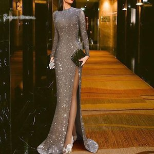 2019 Mermaid Sequined Sexy Split Long Sleeves Formal Evening Wear In Stock Hot Sales High-end Quality Dress on Sale