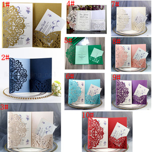 Wholesale 10styles Glittery Wedding Invitation Cards Kits lace hollow Flower Bridal Invitation Card Engagement Graduate Birthday Party Invites FFA2891