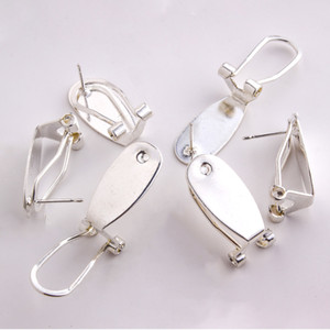 Taidian Silver Fingernail Earring Post For Native Women Beadswork Earring Jewelry Finding Making 50 Pieces lot