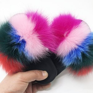 Beautiful Girl Fur Slippers Children Summer Beach Slippers kids Plush Fluffy Child Furry Slides 25-35 Fur Sandals