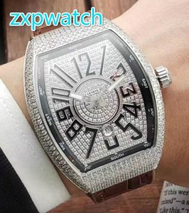 Wholesale Full iced diamond men s watch all diamond barrel stainless steel silver and rose diamond automatic watch original buckle