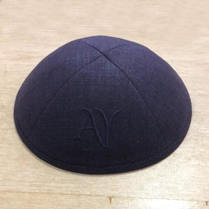Customize kippah kippot yarmuke ,Navy color yarmulka kipa, kippa skullcap, dome for wedding bar bat mitzvah Linen personal embriodery logo