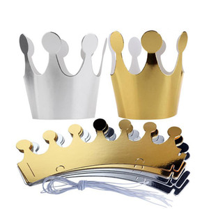 Wholesale 10Pcs Kids Adult Happy Birthday Paper Hats Cap Prince Princess Crown Party Decoration for Boy Girl Silver Gold Crown