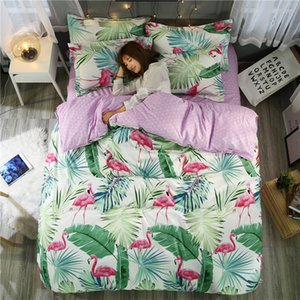 Wholesale 31 Bedding Set Tropical Plant Quilt Cover Queen Full King Size Home Bed Set Flower Print Pink And Green Bedclothes