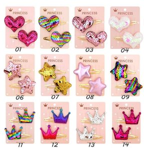 Wholesale Girls Sequins Hairclip Shiny Heart Hairpins Kids Girl Rainbow BB Hair Clip Barrettes Candy Color Headwear Hair Accessories