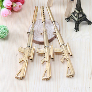 Wholesale New Golden Machine Gun Ballpoint Pens Student Ball Point Pen School Office Supplies Learning Stationery