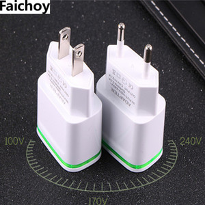 Wholesale Faichoy USB Ports Adapter Mobile Phone Wall Charger Device Micro Data Charging V A EU USA Plug LED Light For Smart Devices