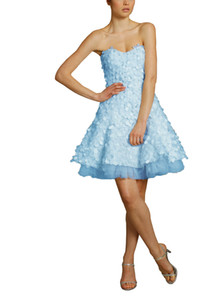 Wholesale Setwell 2019 Light Blue Strapless A-line Short Mini Evening Dress Sleeveless Custom Made Tulle Satin Party Prom Gown