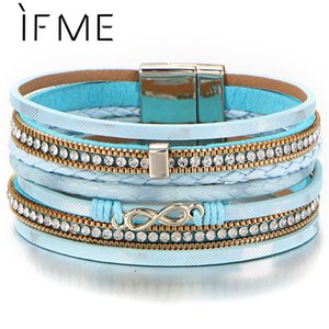 Wholesale IF ME Bohemian Multilayers Charms Leather Bracelets Bangles for Women BOHO Infinity Crystal Female Braided Bracelet Jewelry NEW