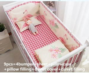 Wholesale Promotion Flamingo Baby Cot Bedding Sets Cot Linen Baby Girl Bedding Set