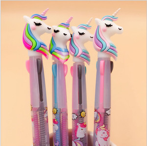 Wholesale Unicorn Silicone Head Color Press Ball Ballpoint Pen Writing Student Stationery School Office Supply mm