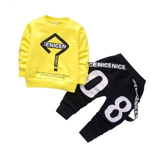 2019 New Spring Baby Boys Tracksuit Kids Long Sleeve Top Leisure Streamers Pants 2pcs Children Clothing Infant Sets Sport Suits SH190907 on Sale