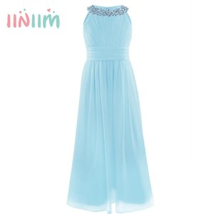 Wholesale Iiniim Kids Dresses For Girls Teens Summer Flower Girls Princess Dress Wedding Bridesmaid Birthday Party Dresses J190706