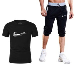 Summer Brand logo New Mens Joggers Casual Shorts+T Shirts 2 piece set Gyms Track Shorts Fashion Male sweatshirt Men Clothing 3XL